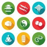 Wing Chun Icons Set Ilustración del vector Imágenes de archivo libres de regalías