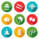 Wing Chun Icons Set. Vector Illustration Royalty Free Stock Images