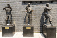 Wing chun kung fu. The three statues are the head of the past Stock Images