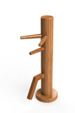 Wing chun wooden dummy. This is a wooden dummy which used to practise Wing Chun or Jeet Kune Do Stock Image