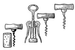 Wing corkscrew, basic corkscrew and cork. Royalty Free Illustration