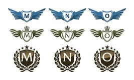 Wing Crown Template Design Set Images stock
