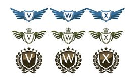 Wing Crown Template Design Set Photographie stock