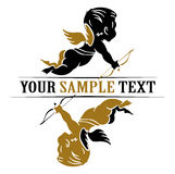 Wing cupid icon. In gold and black Royalty Free Stock Images
