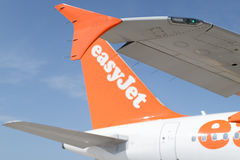 Wing of easyJet. Airbus A320 at Stuttgart Airport Stock Photos