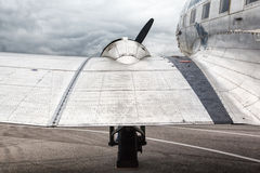 Wing and engine old transport aircraft Royalty Free Stock Photography