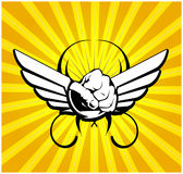 Wing fist. Abstract  background with wing and fist Stock Photography