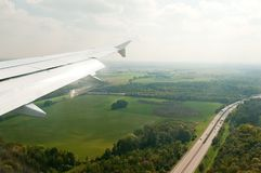 Plane wing above Franckfurt road Stock Images