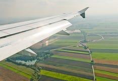 Plane wing above Franckfurt land Royalty Free Stock Image