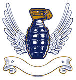 Wing grenade emblem Stock Images
