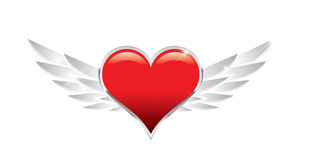 Wing Heart. Red heart with modern wings Stock Photo