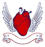 Wing heart emblem. Red wing heart emblem on vector illustration