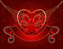 Wing Heart Gold On Red Stock Image
