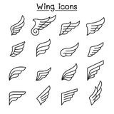 Wing icon set in thin line style. Vector illustration graphic design Royalty Free Stock Photo
