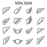 Wing icon set in thin line style Royalty Free Stock Images