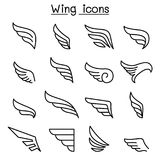 Wing icon set in thin line style Stock Photos