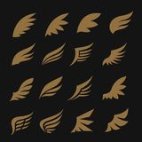 Wings icon set. Wing icon set. wings vector design for logo elemant stock illustration