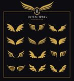 Wings icon set. Wing icon set. wings vector design for logo elemant royalty free illustration
