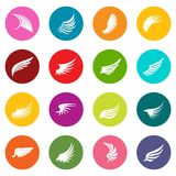 Wing icons many colors set Stock Photos