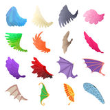 Wing icons set, cartoon style Royalty Free Stock Images