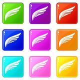 Wing icons 9 set. Wing icons of 9 color set isolated vector illustration Stock Photo