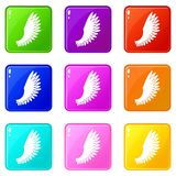 Wing icons 9 set. Wing icons of 9 color set isolated vector illustration Stock Photography