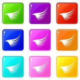 Wing icons 9 set. Wing icons of 9 color set isolated vector illustration Stock Images