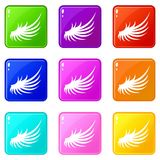 Wing icons 9 set. Wing icons of 9 color set isolated vector illustration Royalty Free Stock Photo