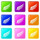 Wing icons 9 set. Wing icons of 9 color set isolated vector illustration Royalty Free Stock Photos