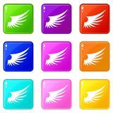Wing icons 9 set. Wing icons of 9 color set  vector illustration Stock Image