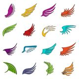 Wing icons doodle set. Wing icons set. Doodle illustration of vector icons isolated on white background for any web design Stock Photography