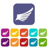 Wing icons set Royalty Free Stock Image