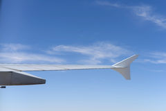 Wing of jet flight in the sky Royalty Free Stock Photos