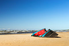 Wing for kite surfing on shore Royalty Free Stock Images