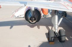 Wing and landing gear and motor of the plane royalty free stock images