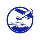 Wing Light Plane Flight Circle fijo retro Fotografía de archivo