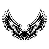 Wing Logo Vector Graphic. With sharp feathering, tattoo style and clean contrast Stock Photos