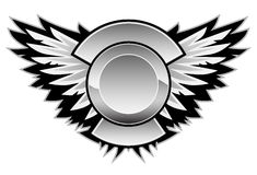 Wing Logo Vector Graphic. Sharp vector graphic of wings, with a center area for your logo and custom text Stock Photos