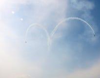 Wing of love. Aerobatic performance at Caihu Airport in Shenyang Royalty Free Stock Images