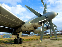 Wing of military plane. With propellers Stock Photo