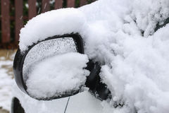 Wing mirror under the snow. Winter time Stock Photo