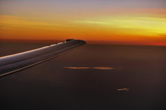 Wing Of Aircraft During Sunset Royalty Free Stock Photography