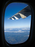 Wing over mountain. Airplane wing over the mountain in Spain Royalty Free Stock Photo