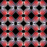 Wing patterns in red semitransparent colors. Seamless abstract background. Repeating wings in mirror position. Stock Image