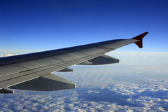 Wing of the plane royalty free stock photo