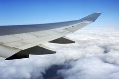 Wing of the plane royalty free stock photos