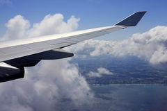 Wing of the plane stock images