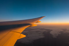 Wing of the plane and a beautiful sky Royalty Free Stock Images