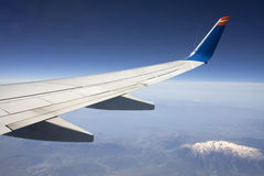 Wing of the plane on blue sky. Royalty Free Stock Photos