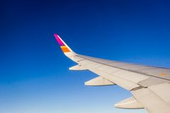 Wing of the plane on blue sky Royalty Free Stock Image